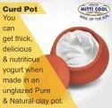 Red New Earthen Clay Curd Pot With Cap (1000 Ml.)