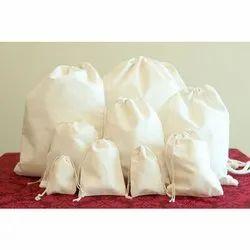 Plain Cosmetic Cotton Drawstring Bag