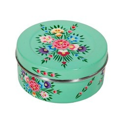 Stainless Steel Hand Painted Enamelware Round Box