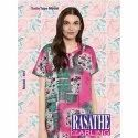 Full Length Cotton Ladies Pink Printed Nightgown