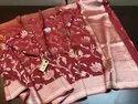 Pure Handloom Khadi Banarasi Georgette Meenakari Weaves Saree, 5.5 M (separate Blouse Piece)