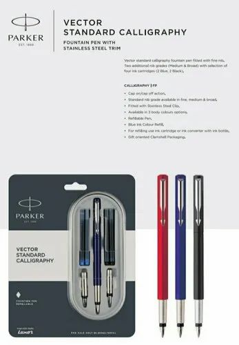 Calligraphy Blue Ink Fountain Pen PARKER Vector Standard Calligraphy CT Red