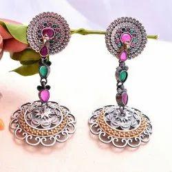 Fashion Frill Silver Oxidized Floral Design Earrings For Girls Women Brass Chandbali Earring