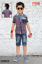 Denim (shirt) Casual Wear Boys Capri Sets