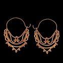 Fashion Brass Hoop Design Gold Plated Women Earrings