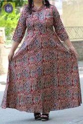 Printed Anarkali Ladies Designer Long Cotton Kurti