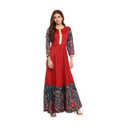 Red Long Designer Kurta
