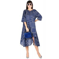 Cotton Printed Asymetrical Western Design Short Length Dress