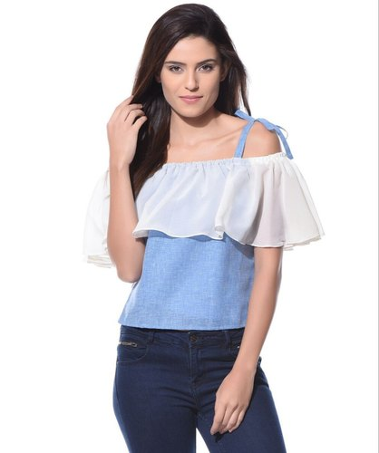 0e8293c90690c0 Casual Sleeveless Denim Off Shoulder Tie Up Chambray Top, Rs 349 ...