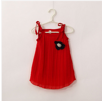5626a828b05 Chic Kid Baby Girl Princess Sleeveless Flower Red Tutu Dress Pleated  Sundress