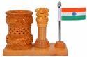Kadam Wood Ashoka Pillar with Flag