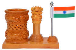 Kadam Wood Ashoka Pillar with Flag