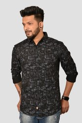Cotton Long Sleeve Black/Grey Printed Shirt