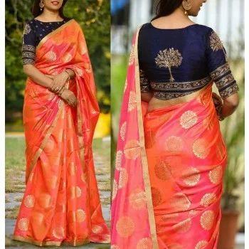 23007db2fc3c9 Silk Orange And Blue Silk Fabric Sarees