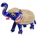 Multicolor Aluminium Metal Elephant With Stone Work, For Interior Decor
