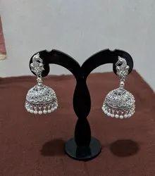 Black Oxidized Ethnic Silver Jhumka