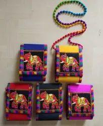Mix Bangalori Silk Mobile Pouch with Kachi Handwork