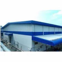 Modular Blue Industrial Mild Steel Warehouse Shed