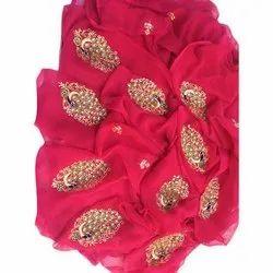Party Wear Diamond Pure Chiffon Saree With Blouse Piece