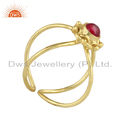 Natural Garnet Gemstone Handmade Design Gold Plated Silver Rings
