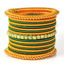 Indian Handcraft Designer Party Wear Silk Thread Bangles Set