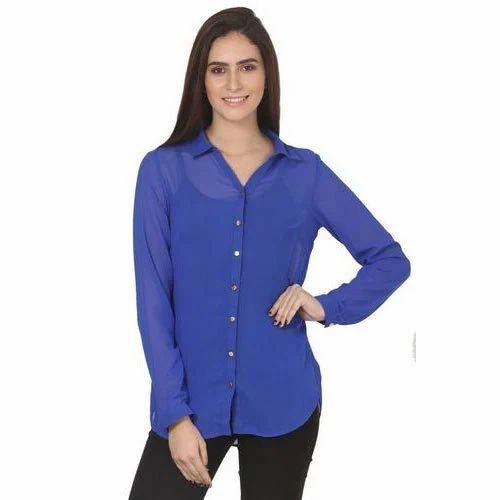 f6e83bf001 Casual Royal Blue Georgette Shirt