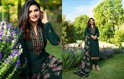 French Crepe Dark Green Embroidered Straight Salwar Suit