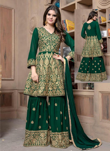 472e30d917 Georgette Readymade Embroidered Sharara Salwar Suit, Size: 34, 36 & 38