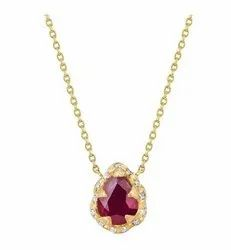 Gold Plated Pear Ruby Sprinkled Diamond Texture Silver Pendant