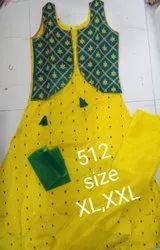 Cotton Stitched Anarkali Dress, Machine wash