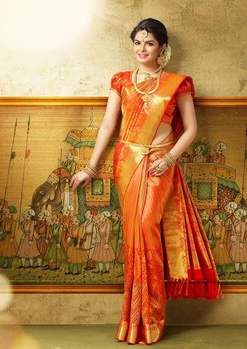 Orange Party Wear Wedding Fancy Bridal Silk Saree