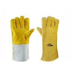 Grey And Yellow Unisex Buff Split Leather Safety Gloves, Finger Type: Full Fingered