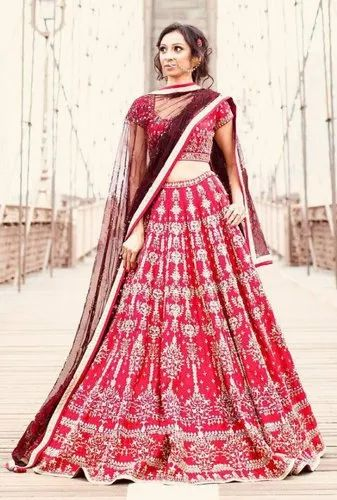 5be57c17a5 Adorning Red Colored Party Wear Designer Embroidered Taffeta Silk Lehenga  Choli