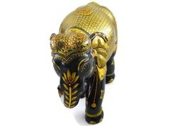 Kadam Wood Elephant with Silver & Pure Gold Work