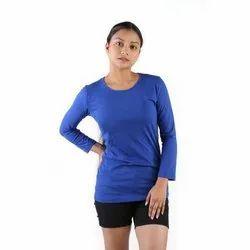 Blue, Purple Plain Ladies Round Neck T Shirt
