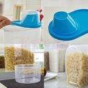 Kitchen Plastic Cereal Dispenser Dabba Jar with Measuring Cup Lid for Grams Masalas Rice