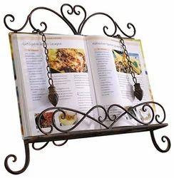 Attractive metal recipe book holder in antique rust finish