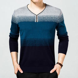 Men V Neck Full Sleeves Knitted T Shirt, Size: S, M & L