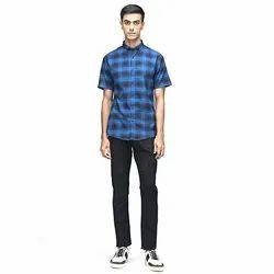 Green Hill Men's Checkered Casual Blue Half Sleeve Shirt