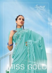 Saroj Miss Gold Imported Heavy Lycra Frill Saree Catalog