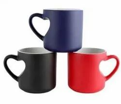Black, Red Ceramic Heart Shape magic Mug
