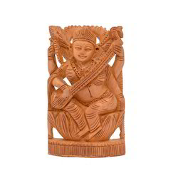 Wooden Carved Saraswati