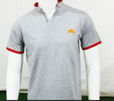 Band Collar Grey Orange T Shirt