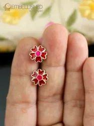Pure Silver Enamel Little Studs - Red Flower