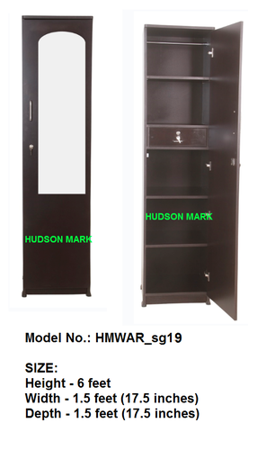 Single Door Wardrobe With Mirror And Drawer