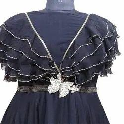 Plain Cotton Fancy Frill Long Formal Dress, Machine wash