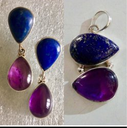 Lapis With Amethyst 925 Sterling Silver Earrings