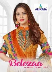 Belezza Vol-2 (Karachi Long) Cotton Unstitched Dress Material