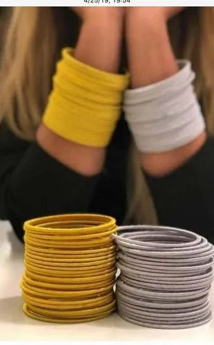 Yellow And Silver Wrapped Silk Thread Bangle