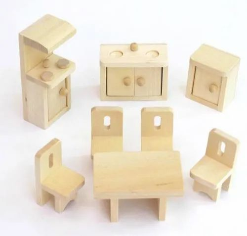 Wooden Unisex Solid Wood Dollhouse Kitchen Furniture Toy Set Rs